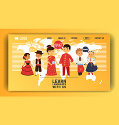 Children nationalities web page kids vector