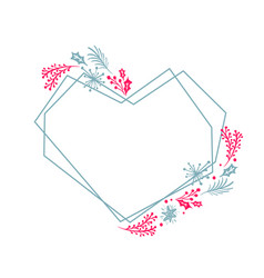 christmas hand drawn heart wreath geometry frame vector image