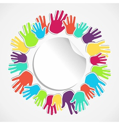 Colorful human hand circle vector image