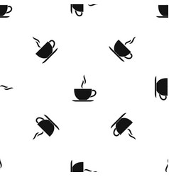 cup of hot drink pattern seamless black vector image
