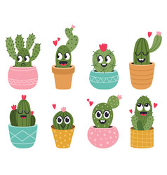 cute cactus faces funny succulent cacti face vector image