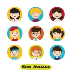 Cute cartoon kids avatars set Children vector