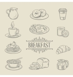 Decorative hand drawn icons breakfast foods vector image