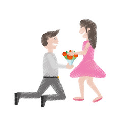 Drawing couple romance- man kneel give flowers vector