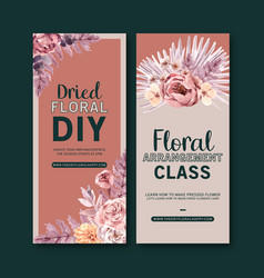 Dried floral flyer design with anemone leaves vector