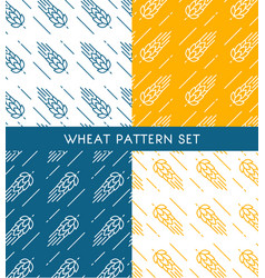 Ears of wheat seamless patterns set vector