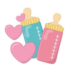 Feeding bottles and hearts vector
