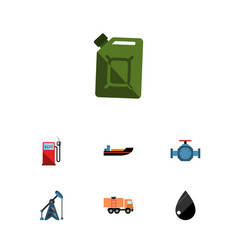 flat icon fuel set of droplet boat rig and other vector image