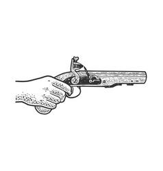 Flintlock muff pistol sketch vector
