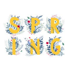 Floral word spring vector