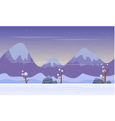 Game background with mountain at winter vector