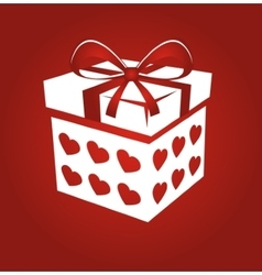 Gift box on red background vector