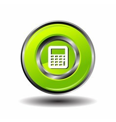 Glossy green Calculator button isolated vector
