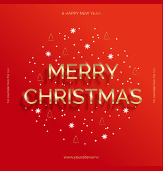 golden text on red background merry christmas vector image