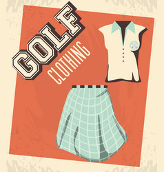 Golf uniform femenine shirt and skirt vector
