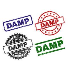 Grunge textured damp stamp seals vector