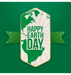 Happy Earth Day big Label and festive Ribbon vector