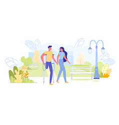 healthy and disabled people love and relationship vector image