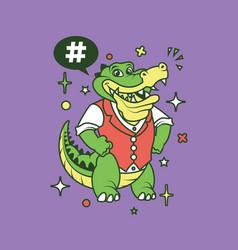 Hipster gator cartoon t shirt design vector