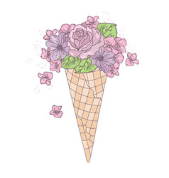 ice cream rose wedding set vector image