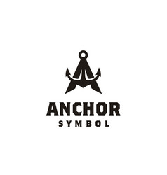 initial letter a anchor boat ship ship yacht logo vector image