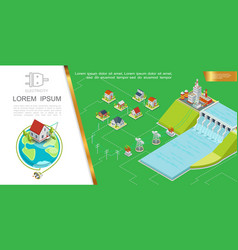 Isometric hydroelectricity concept vector
