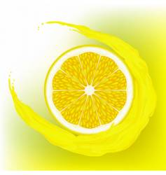 lemon with a wave juice vector image vector image