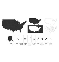 Map united states america usa with vector