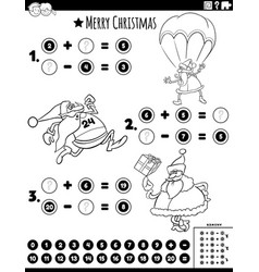 math addition and subtraction task with santa vector image