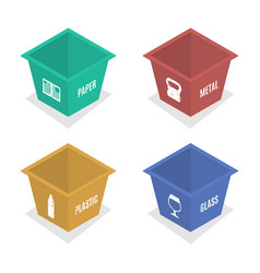 Metal container for garbage in isometric vector