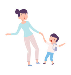 mom accompanying her crying son to school or vector image