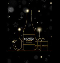 new year 2020 card gold art deco party drink vector image