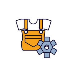 Overall uniform construction with gear vector