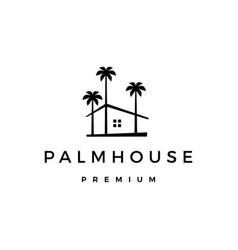 Palm house tree home logo icon vector