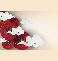 paper art of red umbrella with japan style vector image