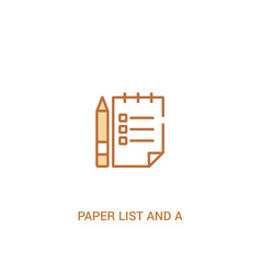Paper list and a pencil concept 2 colored icon vector