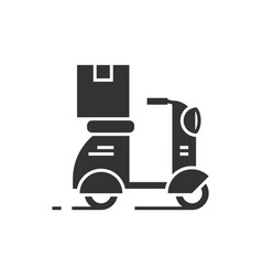 parcel delivery on a scooter black icon vector image