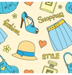 Pattern with hats perfume footwear skirt handbags vector image