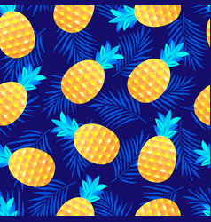 Pattern with pineapples and leaves vector