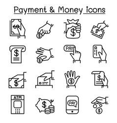 Payment money icon set in thin line style vector