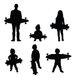 people holding skateboard silhouette vector image