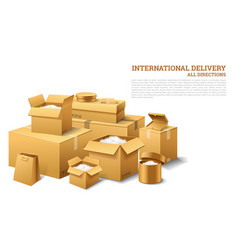 Pile of realistic stacked cardboard box brown vector