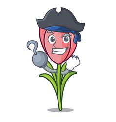 Pirate crocus flower character cartoon vector