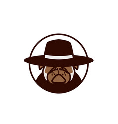 pitbull using hat logo vector image