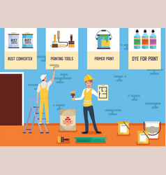 Plastering painting service banner landing page vector
