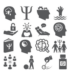 Psychology icons set on white background vector