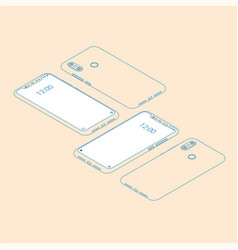Realistic flat modern two smart phone with color vector