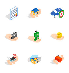 Safeguard icons isometric 3d style vector