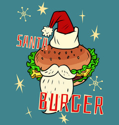 Santa burger christmas fast food vector