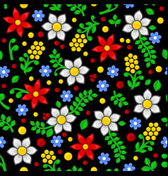 seamless floral pattern on black background vector image